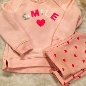 Osh Kosh Blush Sweatshirt and fleece pants 2T EUC!